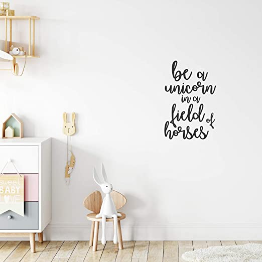 Amazon Com Vinyl Wall Art Decal Be A Unicorn In A Field Of Horses 23 X 15 Motivational Quote Words Teen Girl Bedroom Cute Little Girls Nursery Room Home