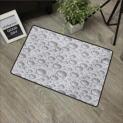 Outdoor Door mat W16 x L24 INCH Grey,Small Large Bubbles Pattern Water Liquid Pure Freshening Monochrome Aquatic Raindrops Design,Grey with Non-Slip Backing Door Mat - Carpet Freshening Powder