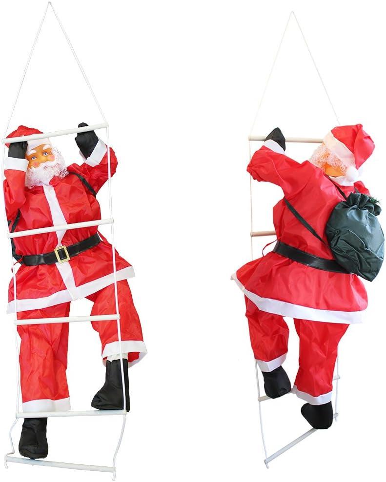 en.casa] Papá Noel en la Escalera de 180cm a 120cm decoración Navidad: Amazon.es: Hogar