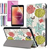 Folding Case for Galaxy Tab A 8.0 (2017), EpicGadget Auto Wake/Sleep Tri-fold Stand Lightweight Slim Cover PU Leather Case For Samsung Galaxy Tab A 8.0 (T380/T385) released in 2017 (Flower Garden)