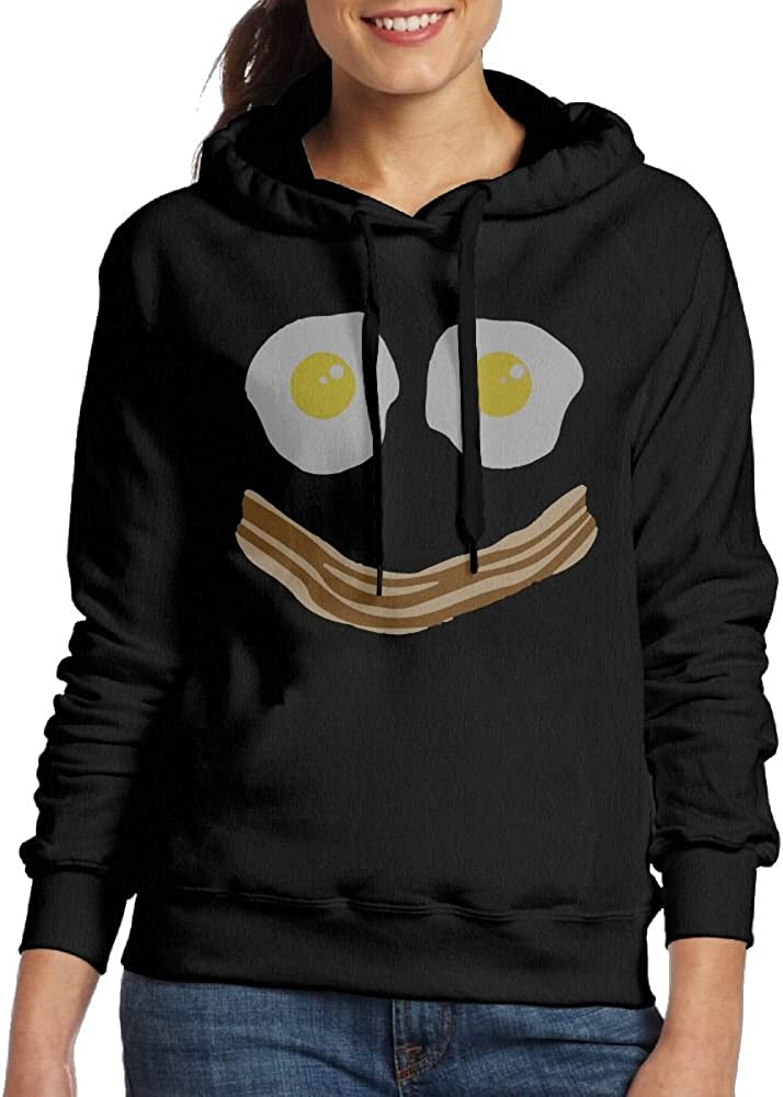 Wxf Womens Bacon and Eggs Smiley Face Classic Jogging Black Hoody