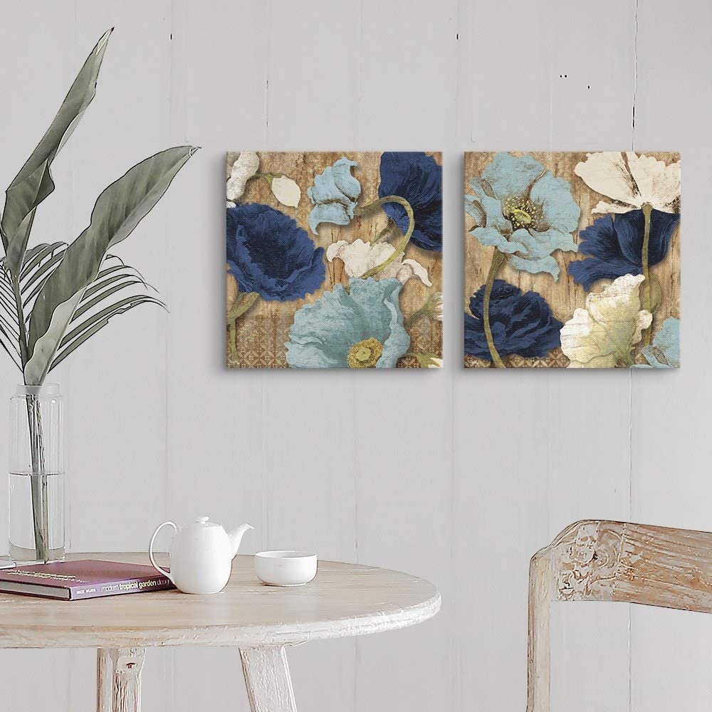 2 Piece Blue Joyful Poppies Canvas Wall Art Print Set, Flower Home Decor