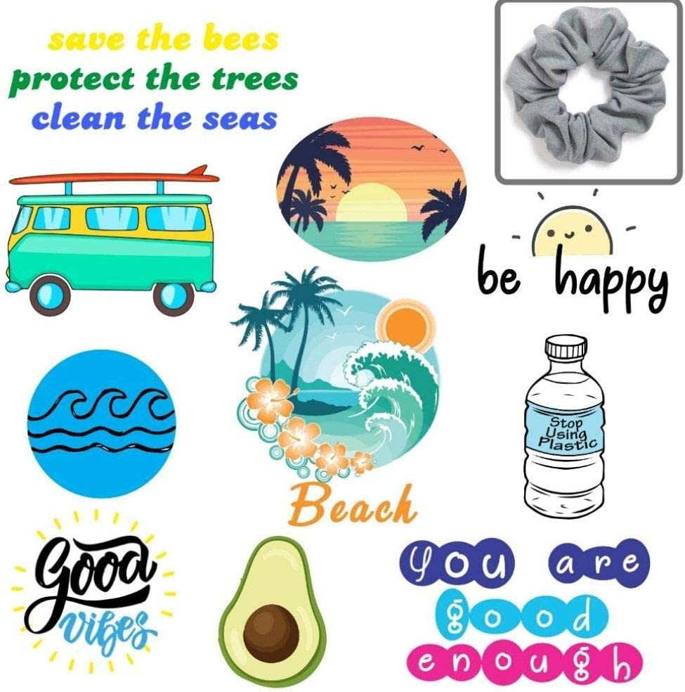 Stickers for Hydro Flask, Water Bottles [Bonus Hair Scrunchie] | Waterproof VSCO Trendy Summer Beach Vinyl Hydroflask Sticker Pack for Teens, Girls, Kids | Ocean Decals for Laptop, iPhone, Luggage