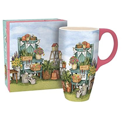 "808308c6110 LANG - 18 oz. Ceramic Latte Mug - ""Potters Bench"" - Artwork"