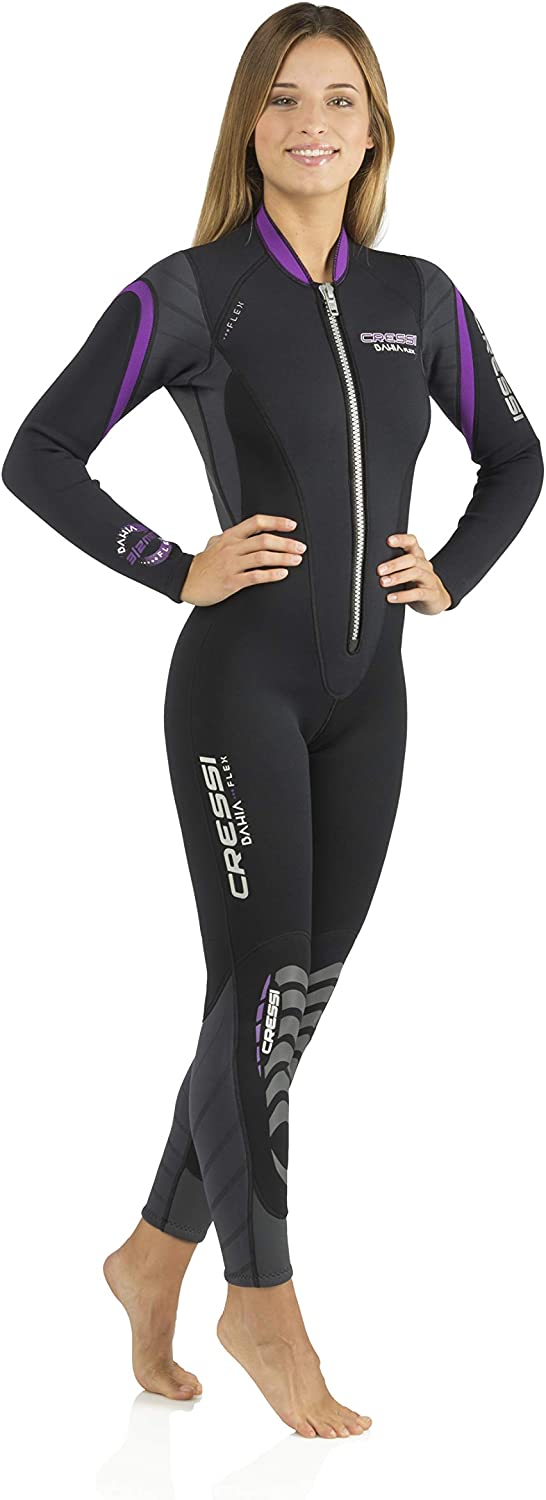 Cressi Lady Front-Zip Full Wetsuit for Water Activities - Bahia & new Bahia Flex