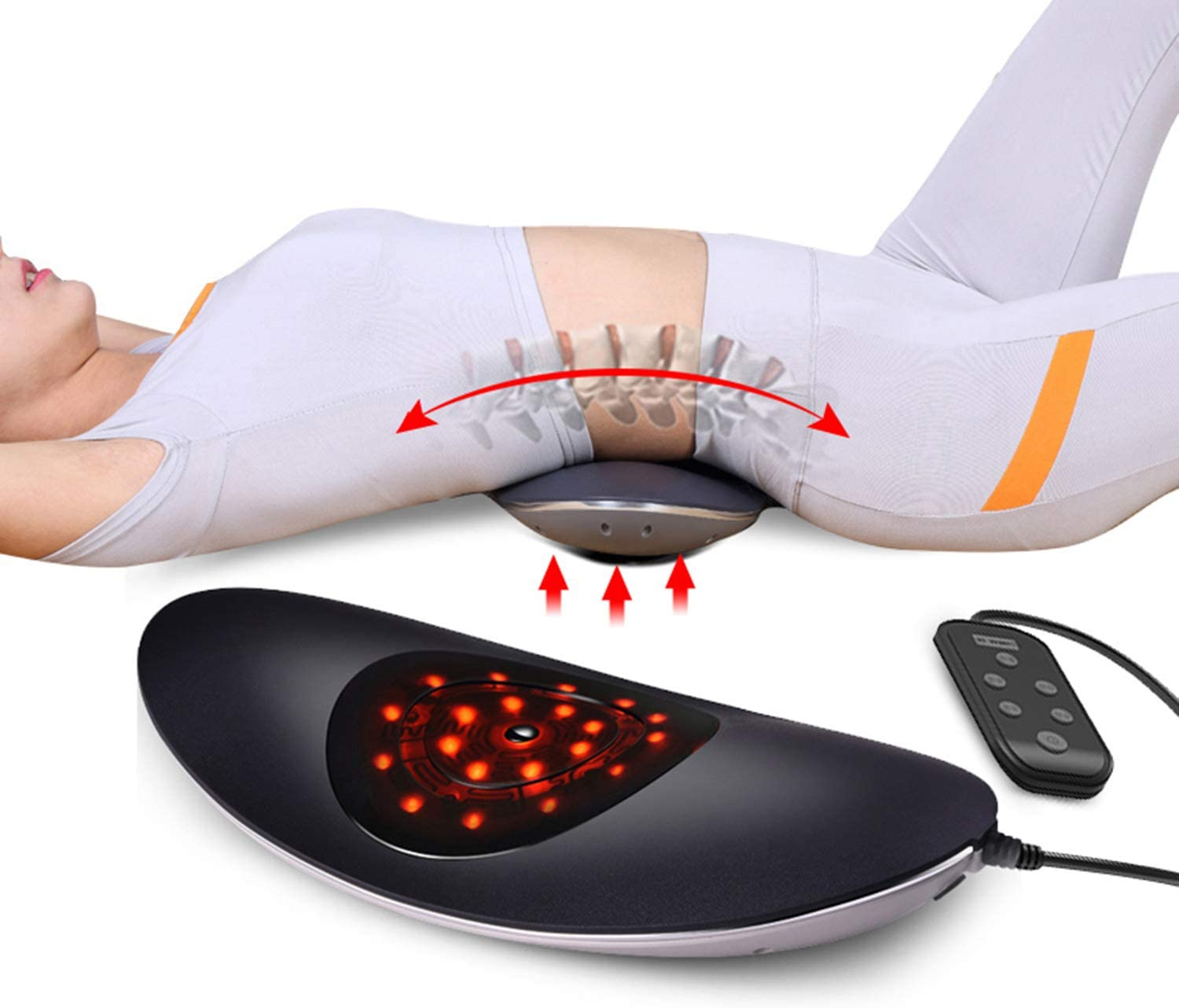 Back Stretcher for Lower Back Pain Relief with Vibrating and Heating Massage Home System Lumbar Traction Device Relieves Back Stiffness and Discomfort. Best Gift for Men Women Father & Mother