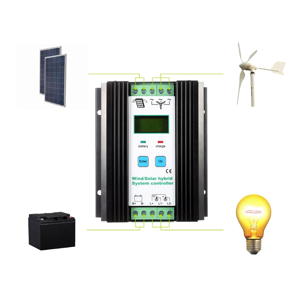 Docooler Lcd Economic Pwm Wind Solar Hybrid System Simple Charge Controller Circuit Schematic For And 12v 24v Automatic Identification Battery 600w 400w