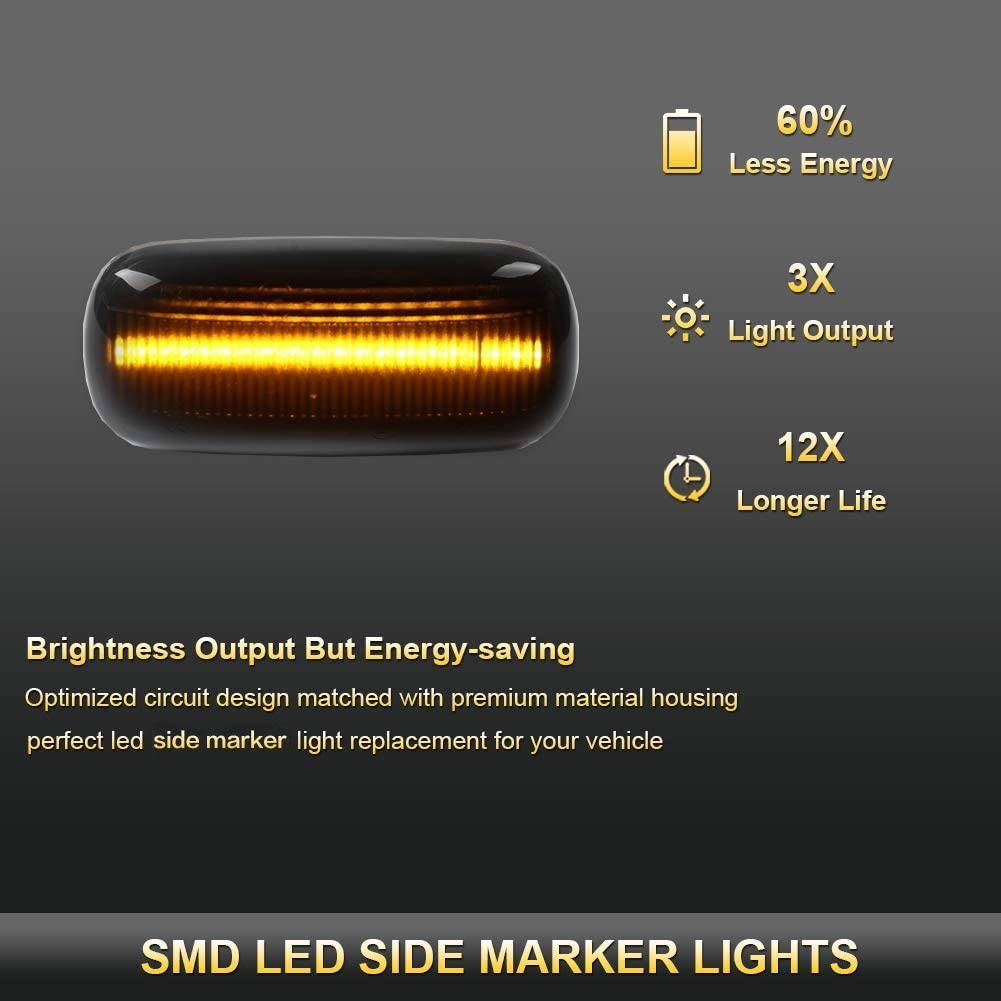 GemPro 2Pcs Dynamic Amber LED Side Marker Turn Signal Light Compatbile for Audi A4 S4 B6 B7 A6 C5 TT A8 Replace OEM Side Marker Light
