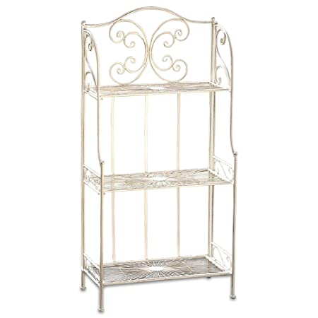 WHW Whole House Worlds French Country Style Bakers Rack, Rustic White, Distressed Vintage Reclaimed Style, Wrought Iron, for Indoor and Outdoor Use, Over 4 Foot Tall