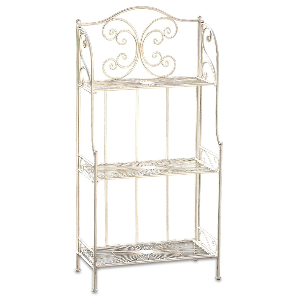 Whole House Worlds The French Country Style Bakers Rack, Rustic White, Distressed Vintage Reclaimed Style, Wrought Iron, For Indoor and Outdoor Use, Over 4 Foot Tall, By