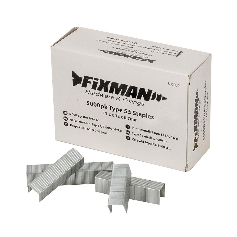 Fixman - 5 000 agrafes type 53 - 11,3 x 12 x 0,7 mm - 805052 - Fixman