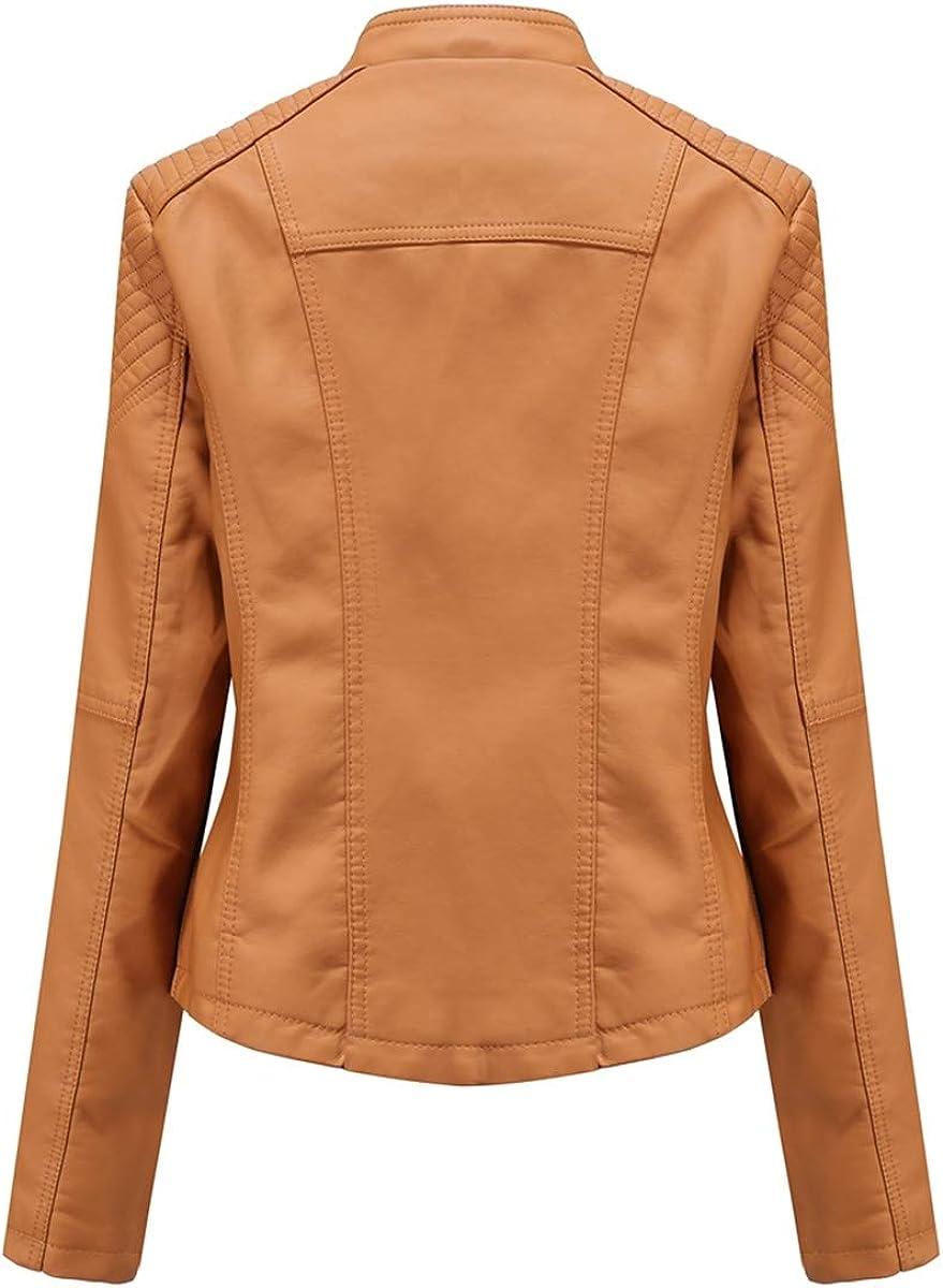 YYNUDA Womens Outerwear Weave Design Stylish Faux Leather Jacket Classic Zip Up Motorcycle Biker Jacket