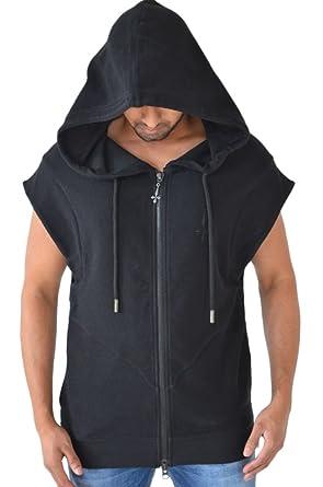 Judas Sinned Mens Black Gilet Jacket Zip Up Hoodie Gym Fashion Hoody Sleeveless