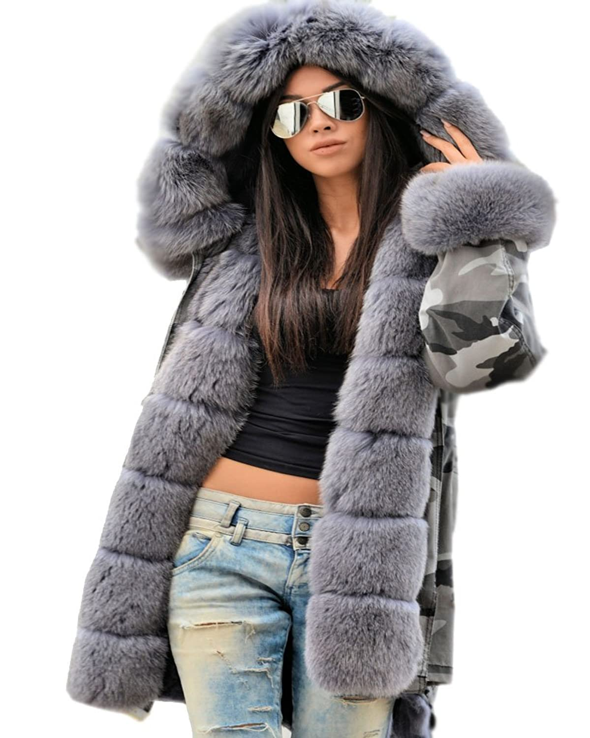 Roiii Women Winter Camouflage Thick Grey Faux Fur Parka Long ...