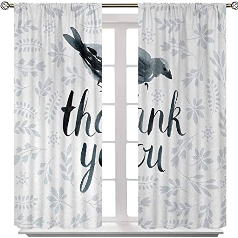 Amazon Com Rod Pocket Window Panels Big Chubby Cute Bird With Water Color Like Thank You Quote And Leaves Artwork 72 Inches Long Energy Saving Blackout Curtains For Kids Bedroom 2 Panels Home