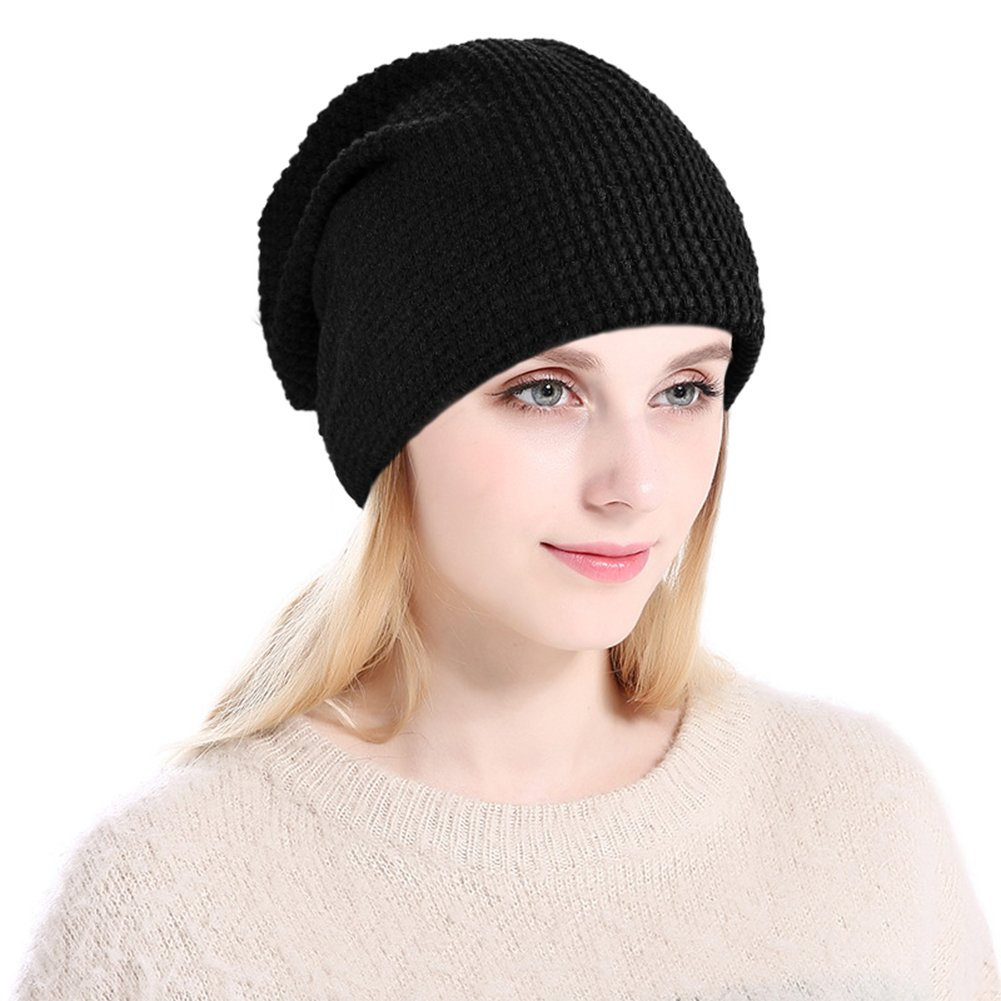 Vbiger Winter Warm Beanie Hat Knit Hats Slouchy Beanie Cap with Fleecy Lining Unisex for Men Women Suitable for Spring Autumn and Winter Grey (Black)