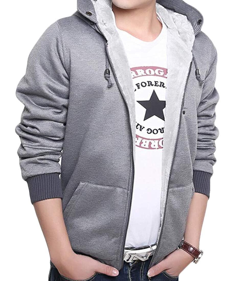 Hurrg Mens Zipper Pockets Fleece Linen Hooded Thicken Sweatshirt Jacket