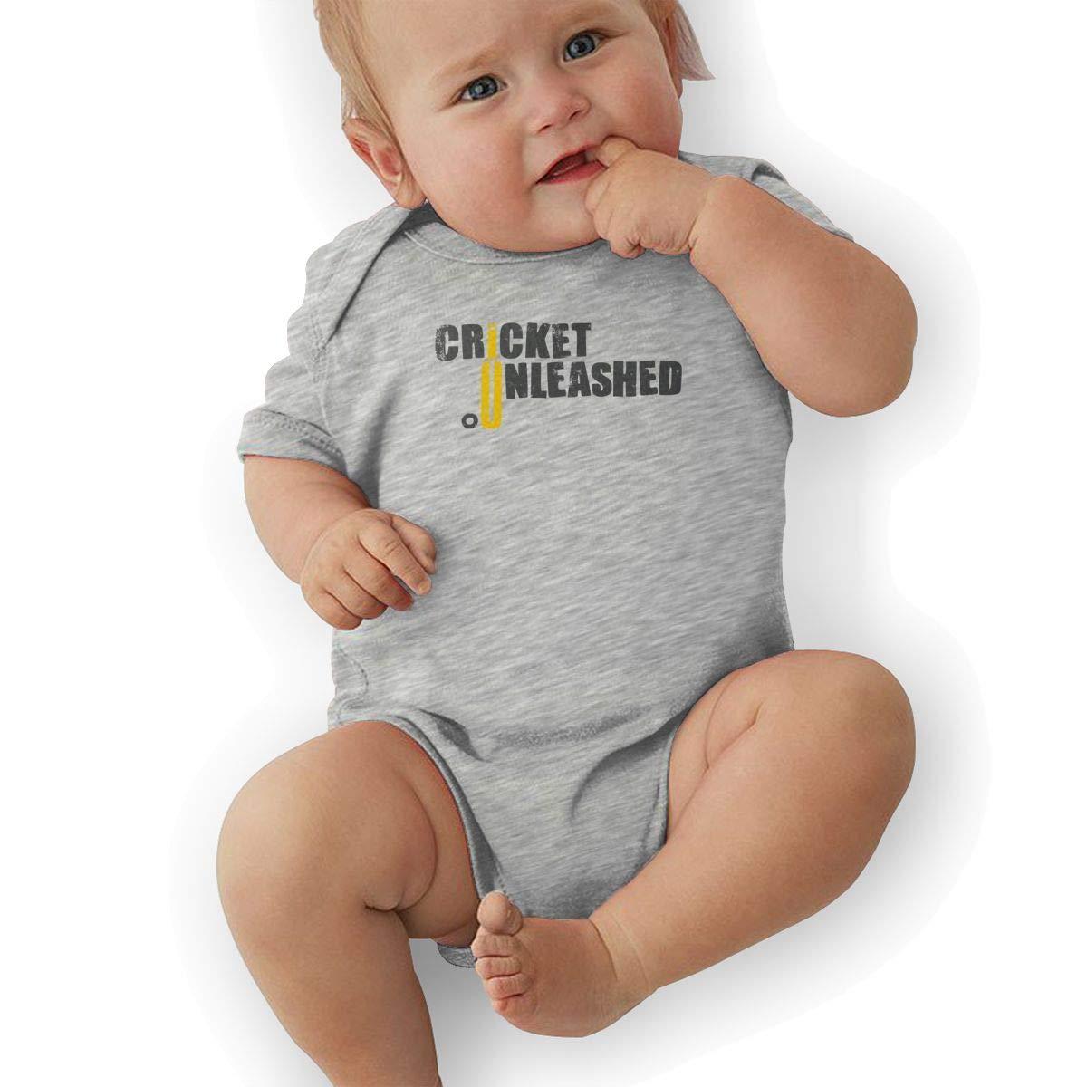 Newborn Baby Girls Bodysuit Short-Sleeve Onesie Cricket Unleashed Print Outfit Summer Pajamas