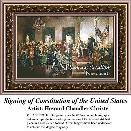 Sunrays Creations Patriotic Counted Cross Stitch Patterns | Signing of Constitution of The United States (Pattern Only, You Provide The Floss and Fabric)