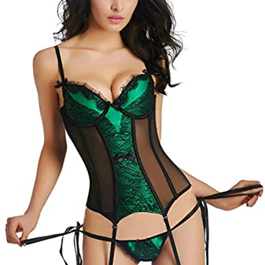 d3b4dddc8e Martya Womens Waist Cincher Lace up Boned Bustier Corset Shapewear with Suspenders  Plus Size 6-