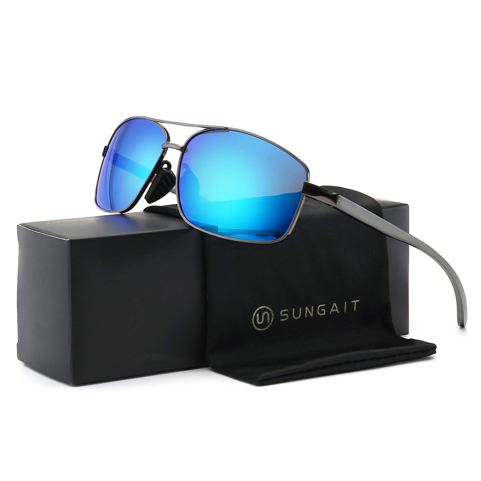 SUNGAIT Ultra Lightweight Rectangular Polarized Sunglasses UV400 Protection (Gunmetal Frame Blue Mirror Lens, 62) Metal Frame 2458 QKLA by SUNGAIT