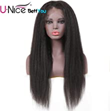 Unice Bettyou Kinky Straight Lace Front Human Hair Wigs for Black Women Brazilian Remy Hair Italian Yaki Wig with baby Hair 130% Density Natural Color (20inch)