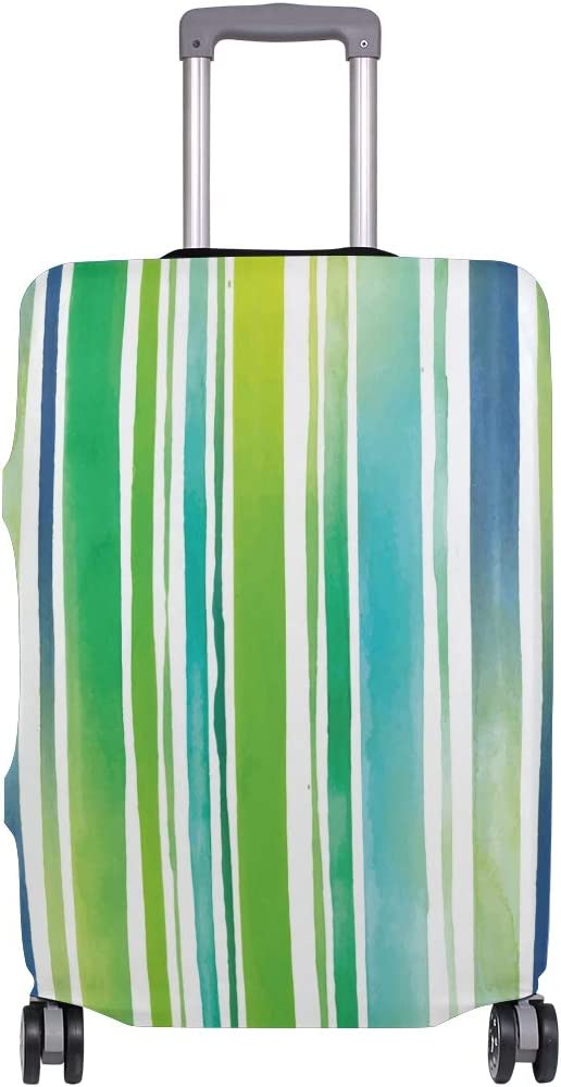Travel Luggage Cover Watercolor Stripes Green Blue Suitcase Protector