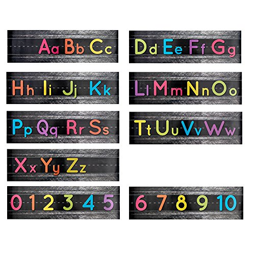 (Alphabet Bulletin Set, Manuscript Alphabet Bulletin Board Posters, Classroom, and Playroom Wall DecorBorder for Students, Total 9 Posters Including Alphabets and Numbers, 21 x 6 inches)