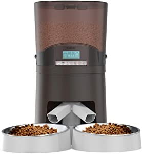 WellToBe Automatic Cat Feeder for Two Animals - 7L Pet Feeder Dog Food Dispenser Includes Two-Way Splitter and Double Bowls - Voice Recorder, Portion Control, up to 6 Meals per Day - Dual Power Supply