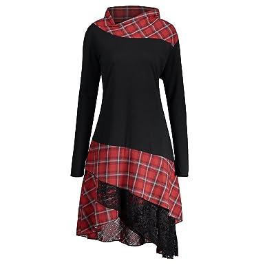 14455f1a267e CharMma Women s Plus Size Mock Neck Lace Plaid Panel Long Top Blouses (Black  Red