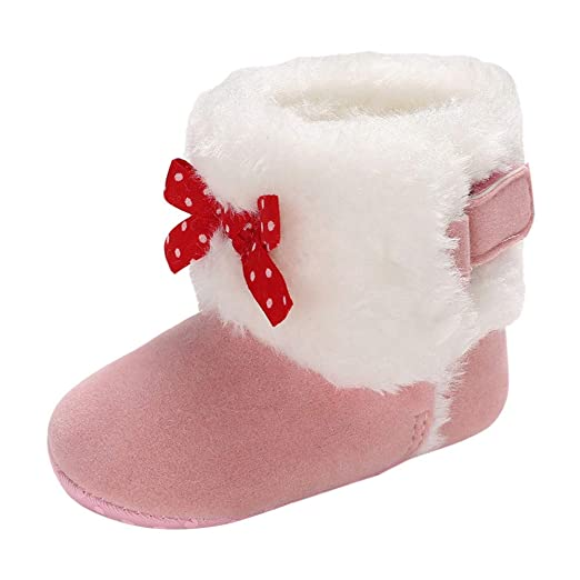 9ccd236b48df Kasien Baby Snow Boots, Baby Girl Soft Booties Bow Pure Color Snow Boots  Toddler Warm