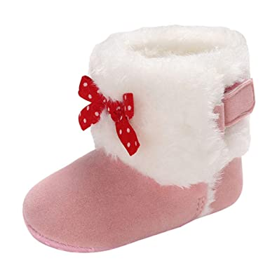 0cd56a6baac PRINCER Toddler Baby Girls Shoes,Fashion High Cut Winter Warm Soft Toddler  Boots Shoes Baby Casual Crawling Soft Sole Shoes Cute Boeknot Furry Pompom  ...