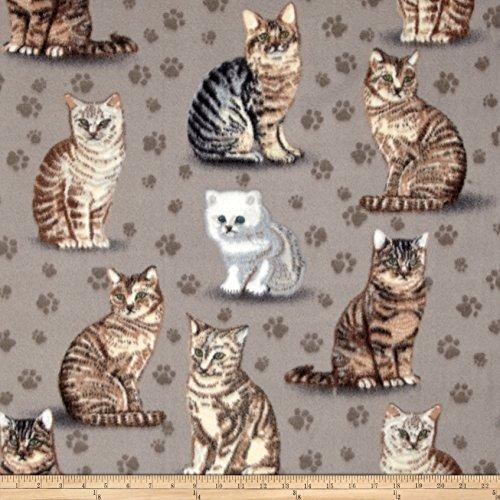 Baum Textiles Winter Fleece Purrfect Grey Yard (Cat Print Fleece Fabric)