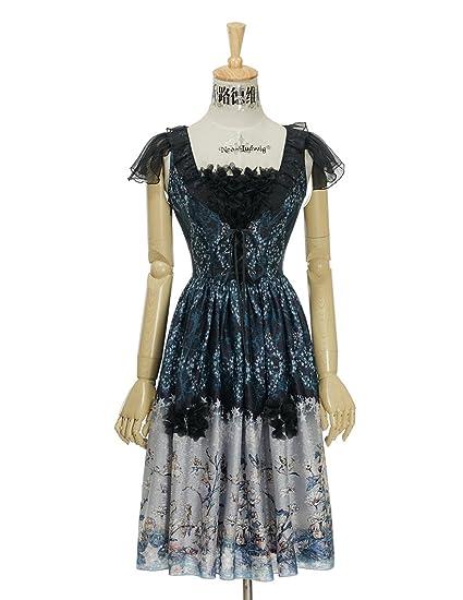 Fairy Floral Dress Lolita Fashion Midi Corsage Dress Ball Dress Blue