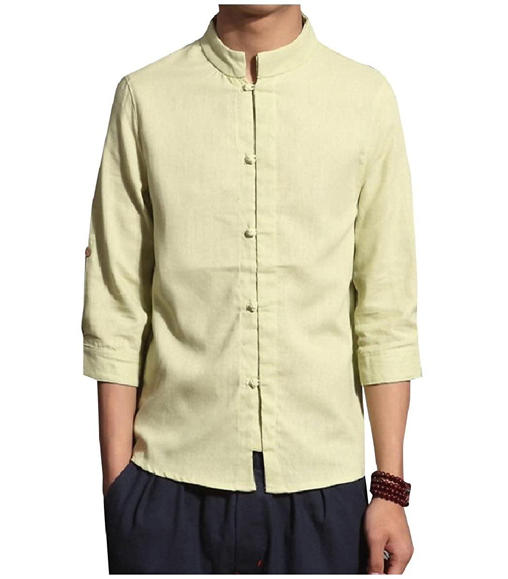 Zimaes-Men Pure Color Plus Size Chinese Style Mandarin Collar Shirts