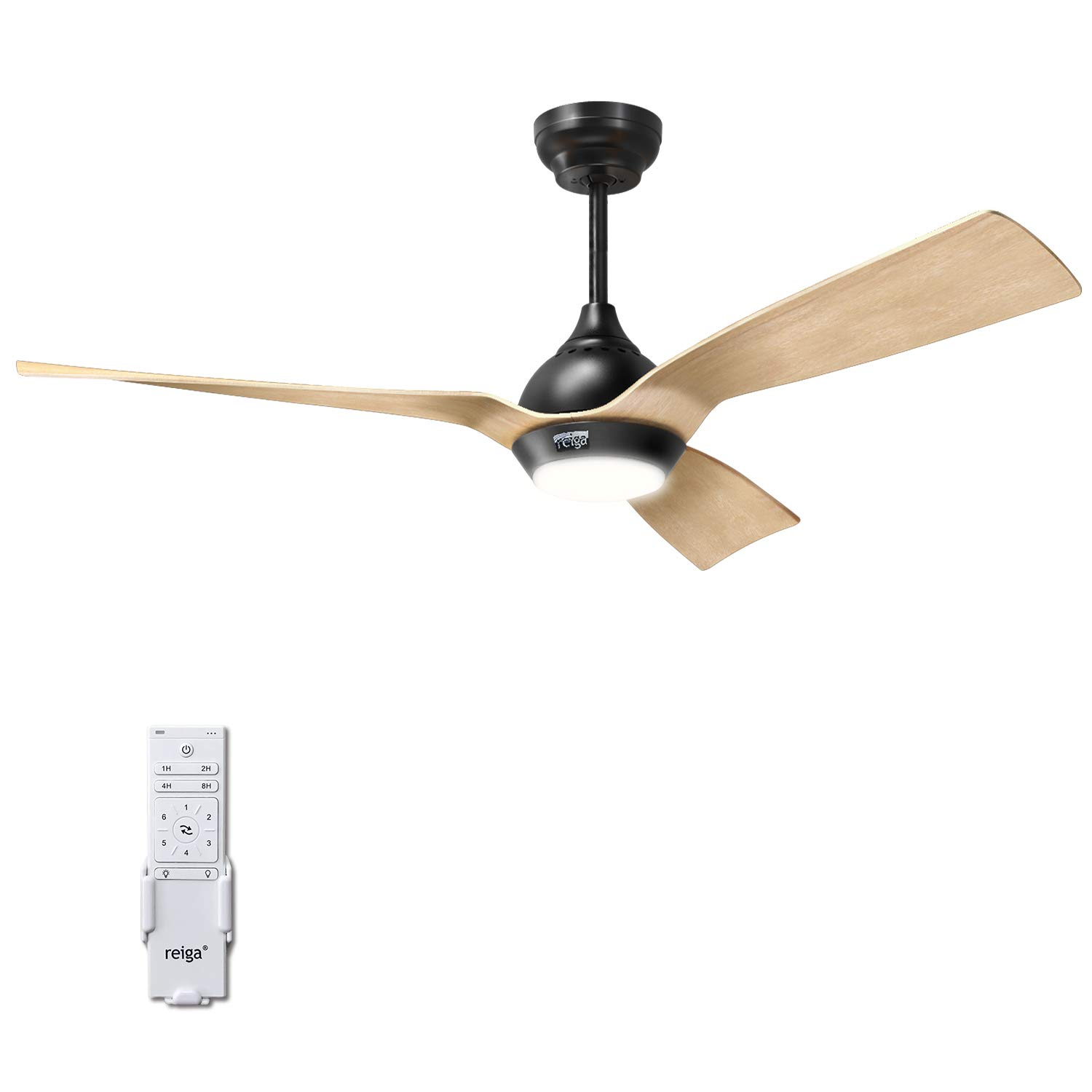 reiga 52-Inch Downrod Mount Ceiling Fan with Light Remote,3 Oak Color Blade Suit for Indoor Outdoor,6-Speed, 3 Color Temperature Switch