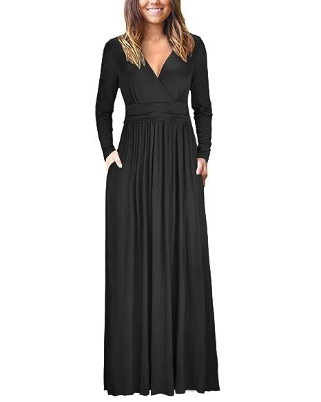 491b196ca05 OUGES Womens Long Sleeve V-Neck Wrap Waist Maxi Dress at Amazon ...