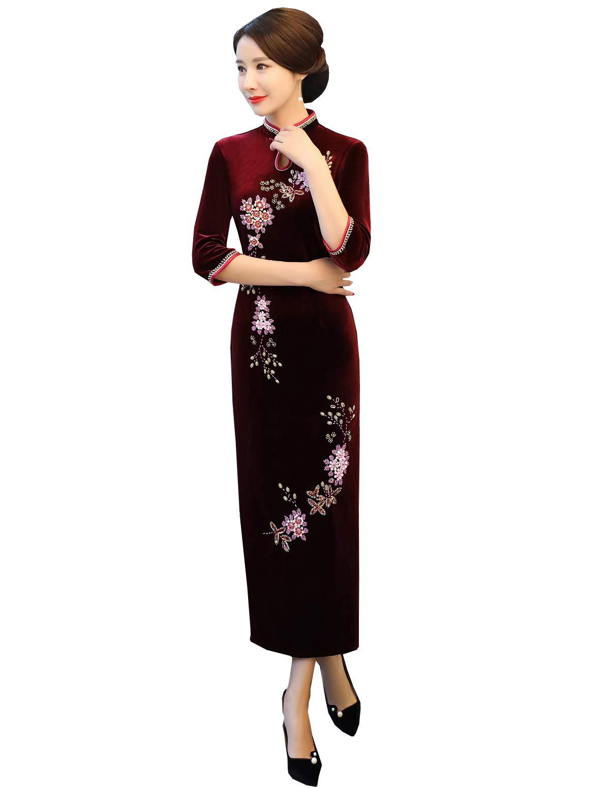 Springplus Women's East Asian Velvet Cheongsam Chinese Evening Dress Qipao Traditional Dress for Girls (Burgundy, US 6)