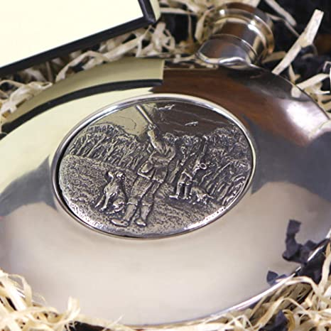 5\u201d  gift Victorian England half leather and pewter with removable Cup outdoor pursuits hunting Antique Spirit Flask fishing shooting