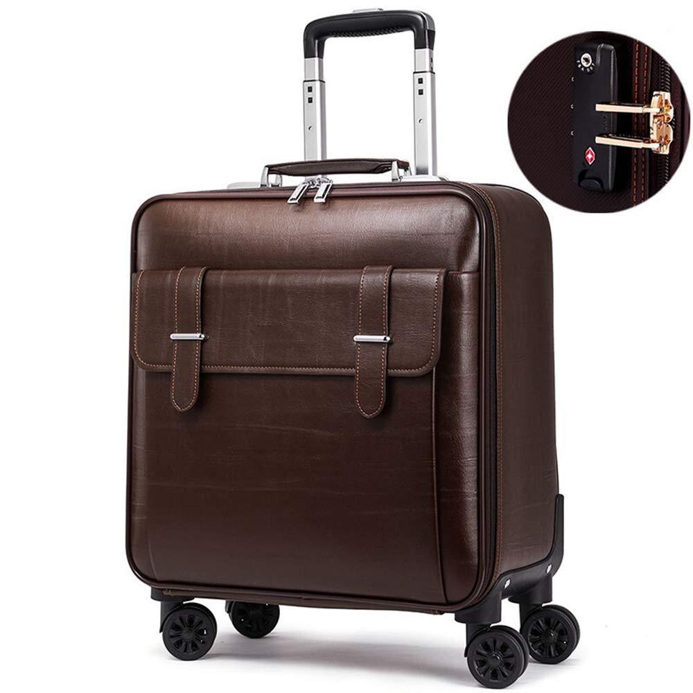 荷物スーツケース、20インチ合成皮革トラベルトロリーケース、360°ユニバーサルロータリーミュートホイール、TAS税関セキュリティパスワードビジネススーツケース,darkbrown B07T1LLN17 darkbrown