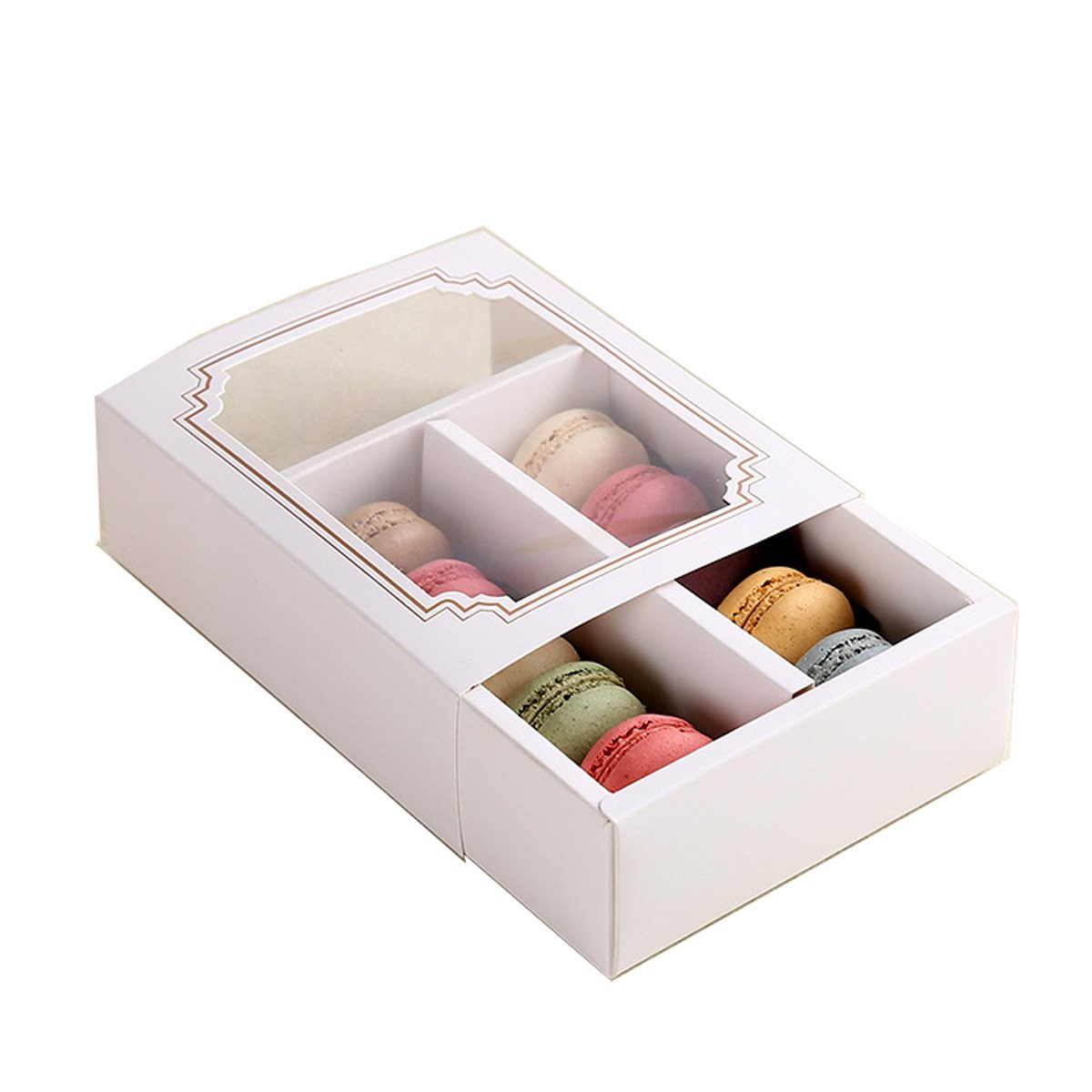 ihomecooker Macaron Boxes for Holds 10 Macarons chocolate biscuit cake (case of 200 ) (10 Macaron)