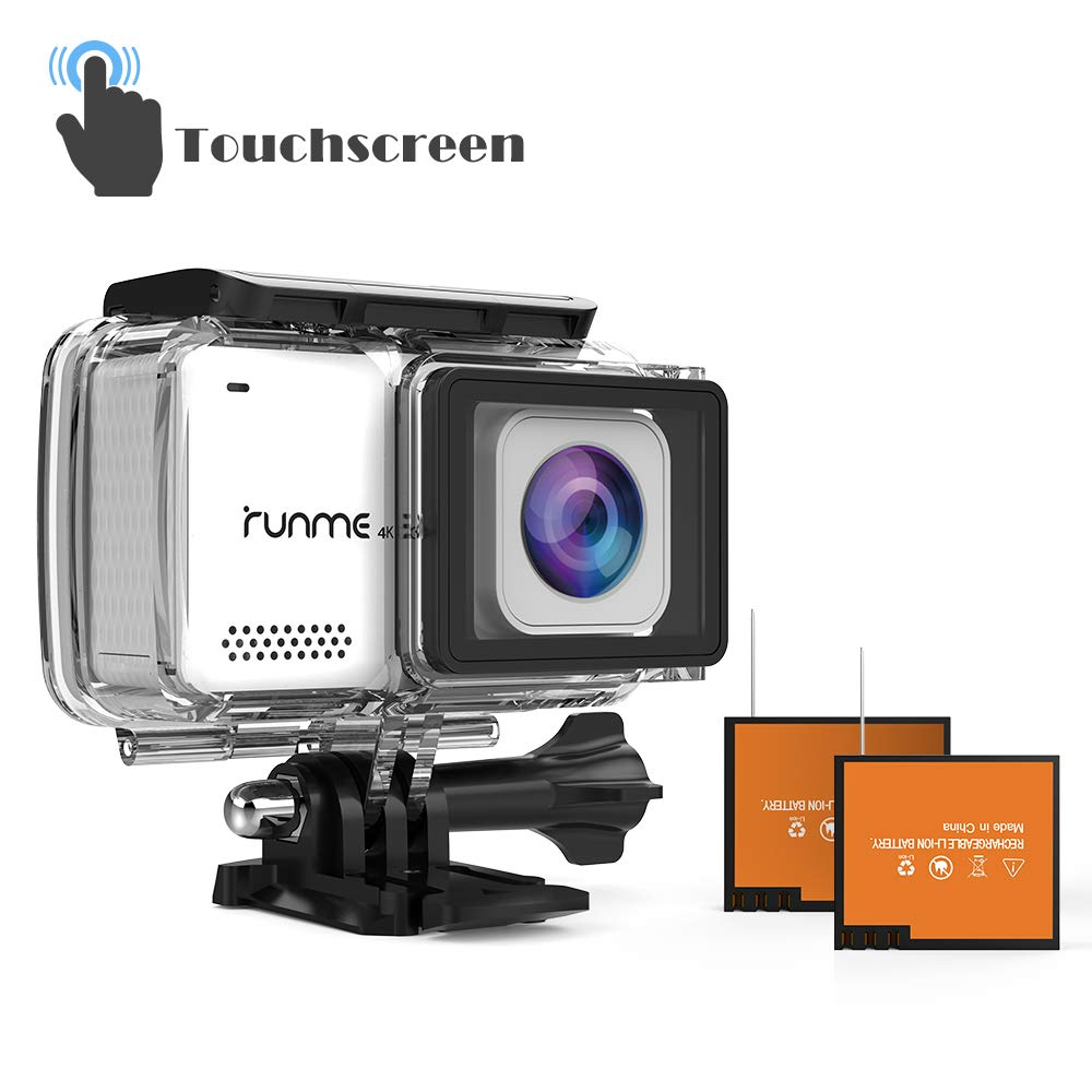 "RUNME R3 2.45"" Touchscreen 4K 16MP Wi-Fi Action Camera, Sony Image Sensor, 30M Water Resistant Camcorder with 170° Wide-Angle Lens, Sports Cam with Accessories Kit & 2 Rechargeable Batteries (White)"