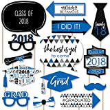 Blue Grad - Best is Yet to Come - Royal Blue 2018 Graduation Party Photo Booth Props Kit - 20 Count