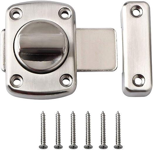 SODIAL - Pestillo giratorio para puerta/cerrojo/pasador/cerrojo de puerta/cerradura de pestillo/juego de acero inoxidable/aplicable para diferentes puertas - plata: Amazon.es: Bricolaje y herramientas
