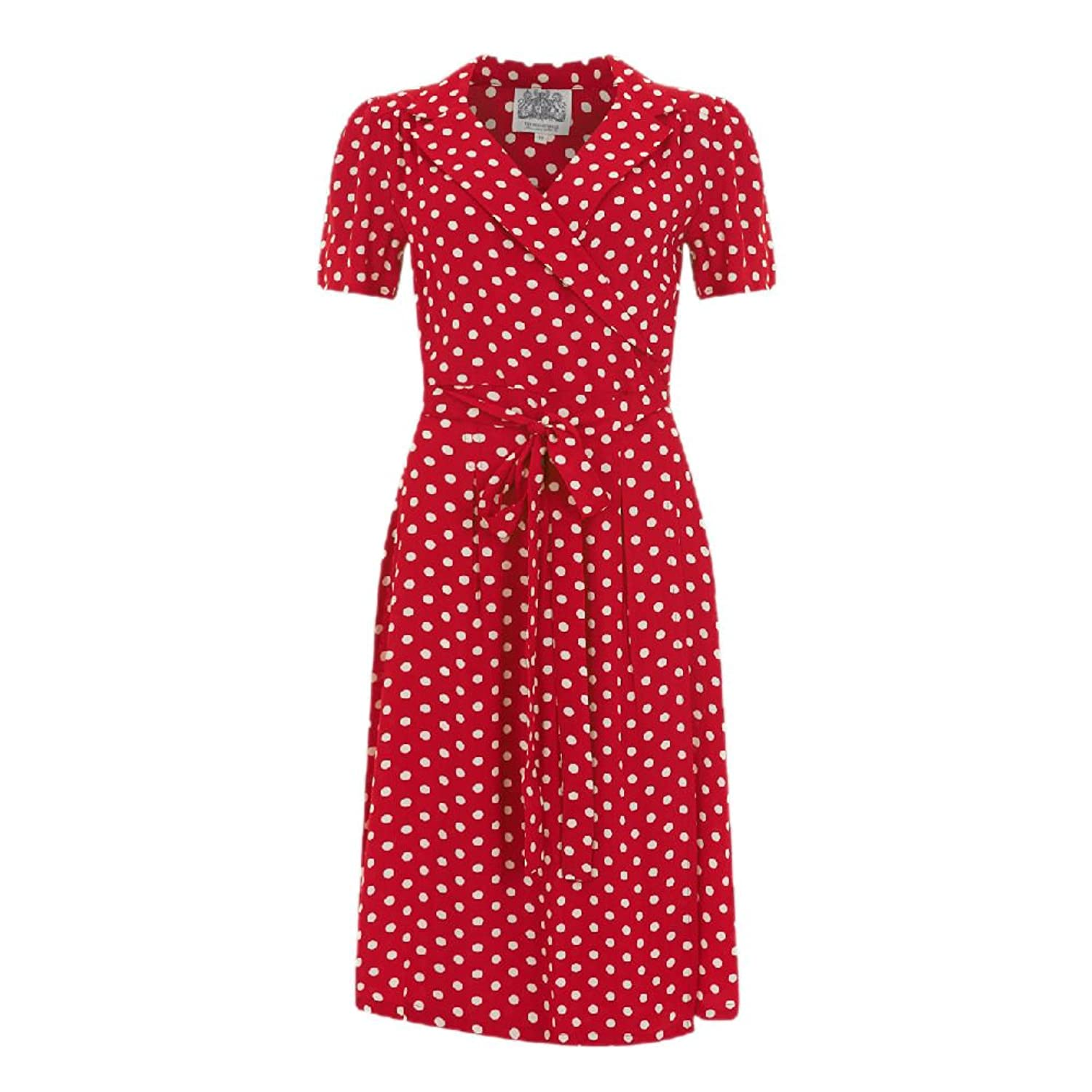 Polka Dot Dresses: 20s, 30s, 40s, 50s, 60s Seamstress Of Bloomsbury Red with White Spots 1940s Peggy Wrap Dress $88.96 AT vintagedancer.com