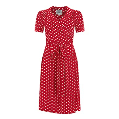1d655743607 Seamstress Of Bloomsbury Red with White Spots 1940s Peggy Wrap Dress 8