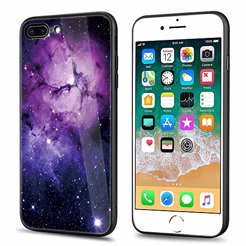 Price comparison product image iPhone 7 Plus,iPhone 8 Plus,DAMONDY 3D Glitter Sky Star Tempered Glass Soft TPU Bumper 2 in 1 Back Protective Case Shockproof Rubber Hybrid Skin Silicone Cover For iPhone 7 Plus/8 Plus-Purple