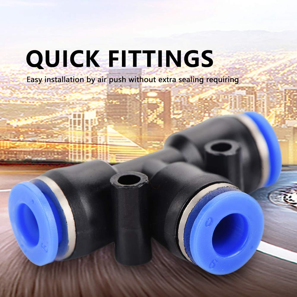 Pneumatic Tools Akozon Air Push Quick Fittings 40Pcs 1//4 Air Hose Pneumatic Push Connector 4 Shape for Quick Connection of Air Piping