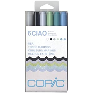 Copic Marker I6-SEA Ciao Markers, Sea, 6-Pack