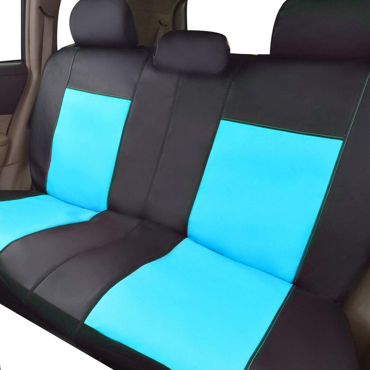 Flying Banner 11 PCS Car Seat Covers Full Set PVC Leather Water Blue and Black 004-Style Universal fit Most Car,Truck,SUV and Van Waterproof Composite Sponge Inside Airbag Compatible